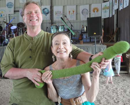 Janet and Gavin pose with the Green Phallus before the Heartland panel discussion