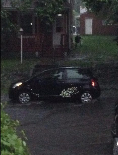 yaris in flash flood