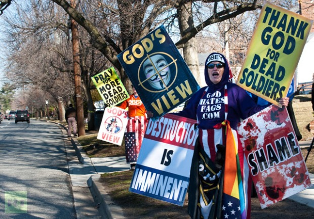 Members of the Westboro Church protest in Kansas. photo credit AFP Photo/Nicholas Kamm