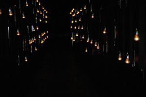 Each light represents a person — at Steilneset Memorial in Vardø, Norway.